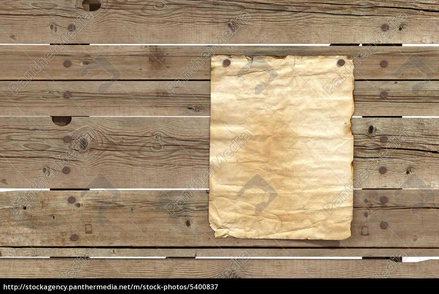alte papier auf holzbohlen - stockfoto - #5400837 - bildagentur