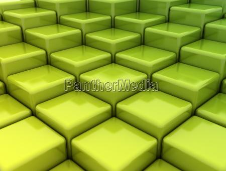 abstract green metallic cubes