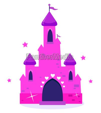 pink princess cartoon castle isolated on