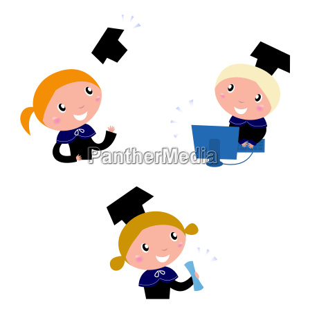 cute graduation kids collection isolated on