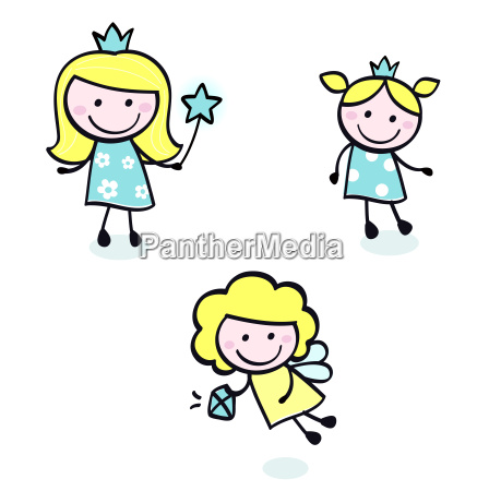 cute doodle princess collection isolated on