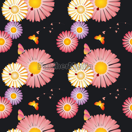 springtime colorful floral butterfly seamless pattern