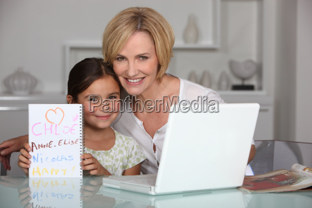 mother and daughter in dining room