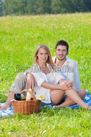picnic romantic couple in sunny
