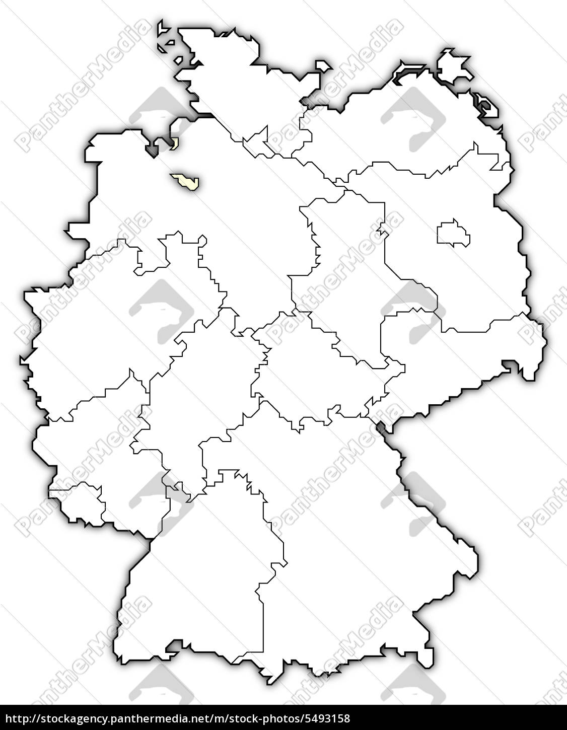 Map of Germany, Bremen highlighted - Stock Photo - #5493158 ...
