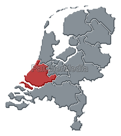 map of netherlands south holland highlighted