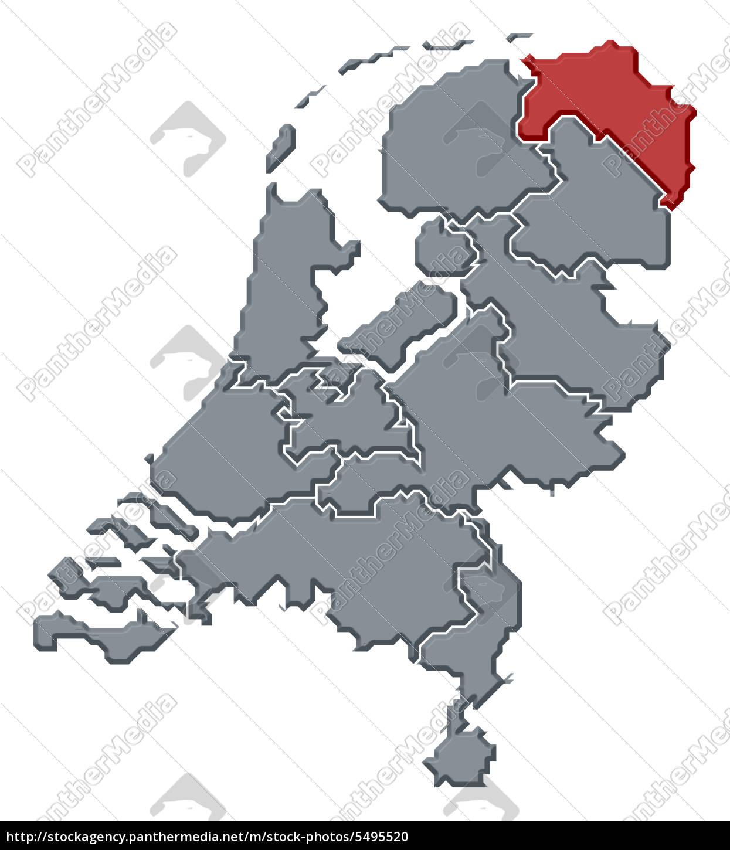 Niederlande Karte Umriss.Lizenzfreies Foto 5495520 Karte Der Niederlande Groningen Hervorgehoben