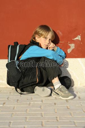 sad lonely bullied school kid child