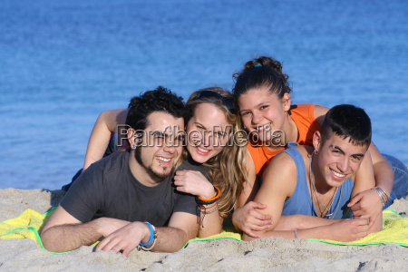 happy young couples having fun at