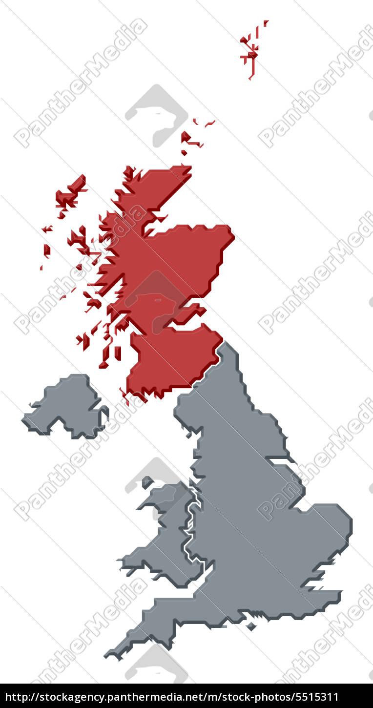 Großbritannien Karte Umriss.Stockfoto 5515311 Karte Von Großbritannien