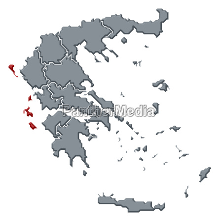 map of greece ionien islands highlighted