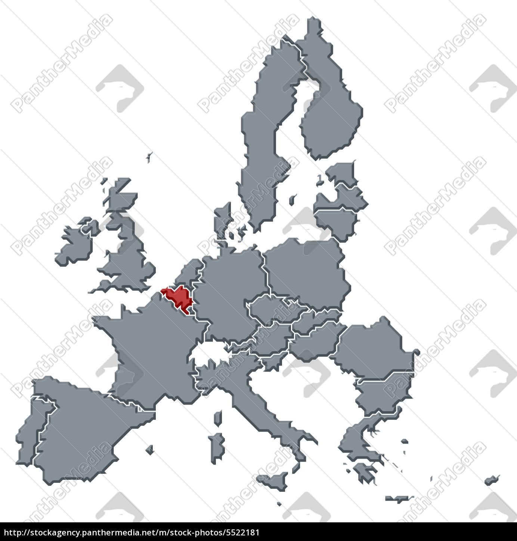 Belgien Karte Umriss.Stockfoto 5522181 Karte Der Europäischen Union Hervorgehoben Belgien