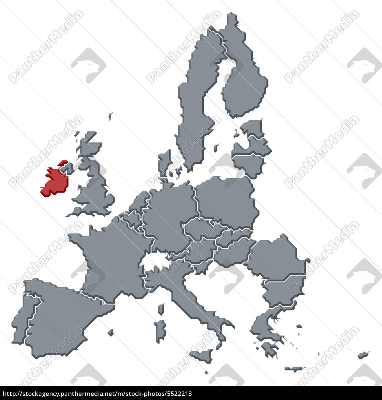 Irland Karte Europa.Lizenzfreies Bild 5522213 Karte Der Europäischen Union Irland Hervorgehoben