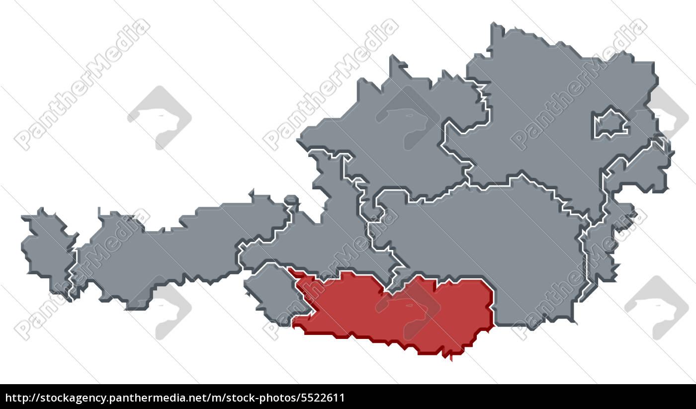 Karte Von Osterreich Karnten Hervorgehoben Lizenzfreies Bild