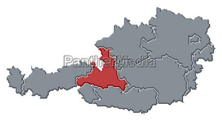 map of austria salzburg highlighted