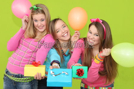happy kids at birthday party giving
