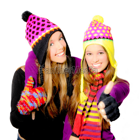 happy smiling winter hat young women