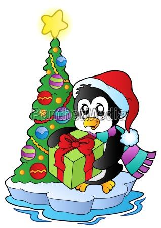 cartoon penguin with christmas tree