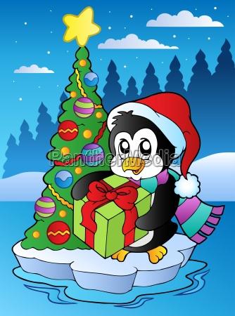 christmas scene with penguin