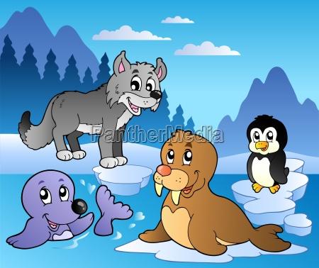 winter szene mit verschiedenen tieren 2