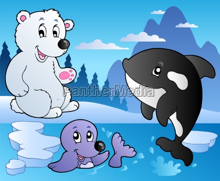 winter scene with various animals 3