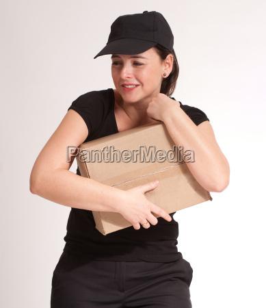 delivery girl holding parcel