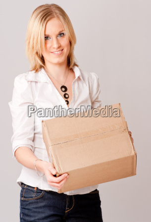blond girl with box