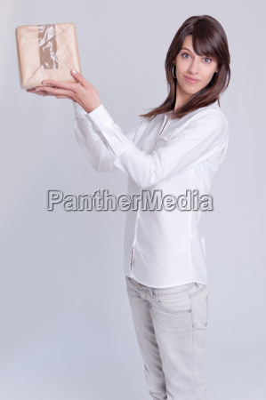 young woman with a box