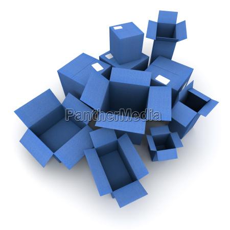 blue cardboard cartons