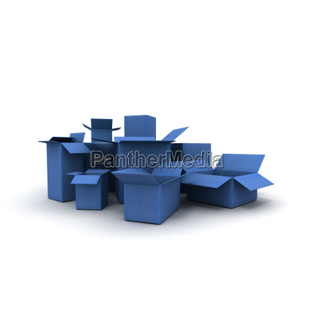 blue cardboard cartons lateral view