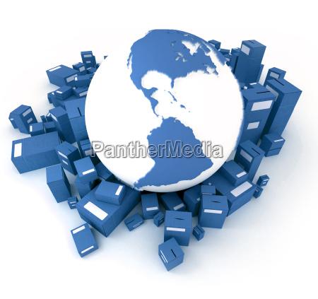 blue earth globus umgeben von paketen
