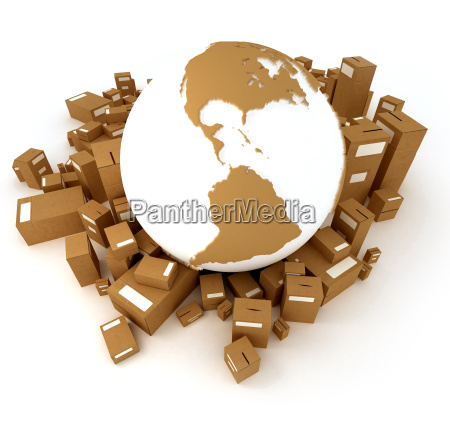 brown earth globe surrounded by packages
