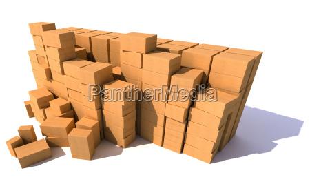 huge piles of cartons