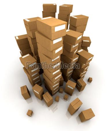 riesige haufen pappkartons