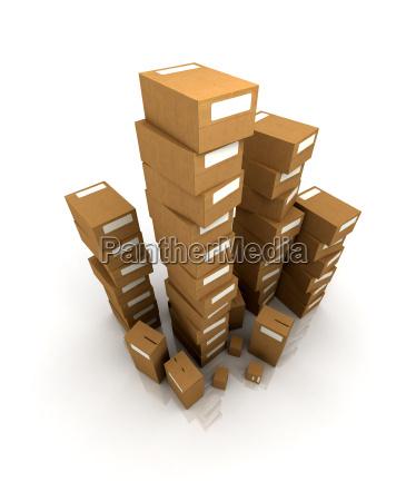 huge piles of cardboard boxes