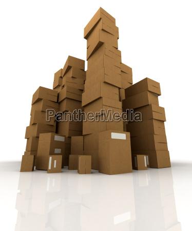 towers of brown cardboard parcels