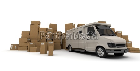 white lorry and boxes