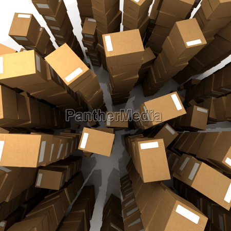 unlimited piles of cardboard boxes