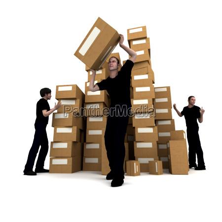 workmen moving boxes