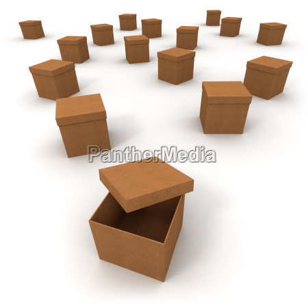 cardboard boxes and open lid