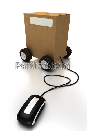package on wheels connected to a