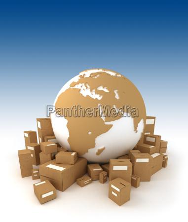 weltkugel umgeben von paketen und orientiert