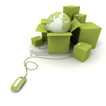 worldwide online shipping in green