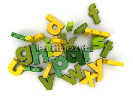 alphabet in gruen und gelb