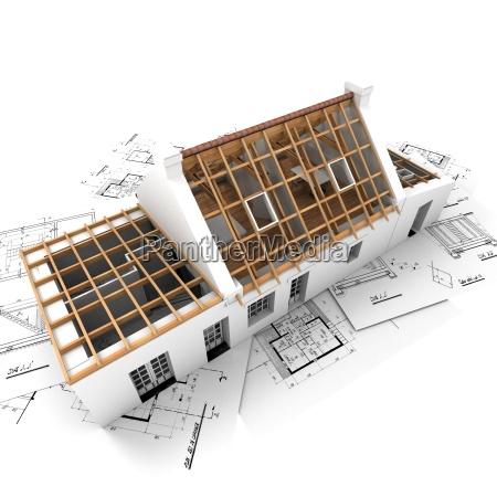 wohndachkonstruktion mit holzbalken