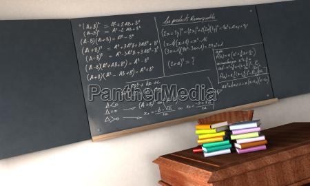 mathematische formeln auf einer tafel