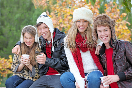 happy autumn or fall group of
