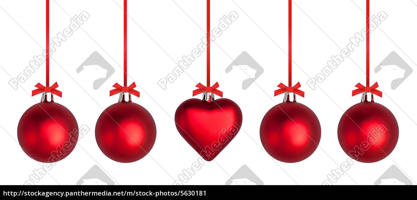 Weihnachtskugeln mit roter schleife stockfoto 5630181 for Weihnachtskugeln bilder