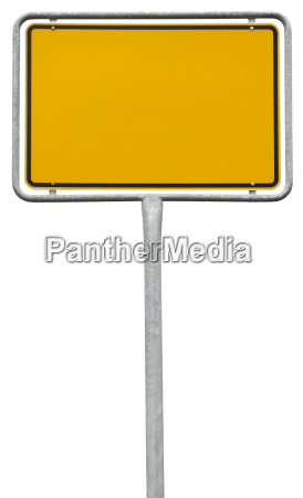 yellow blank sign clipping path isolated
