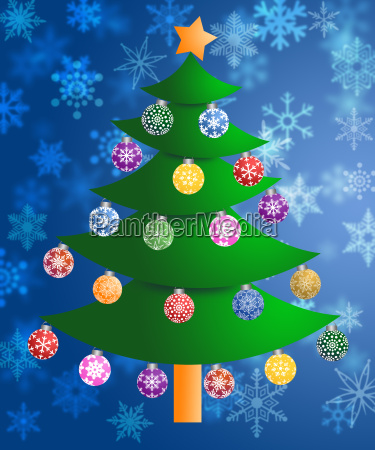 colorful christmas tree on blurred snowflakes
